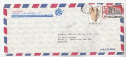 1981 Air Mail JAMAICA COVER Illus ADVERT CARLTON MOTOR Stamps CHRISTMAS ARAWAK ARCHEOLOGY Religion  To GB - Jamaique (1962-...)