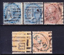 INDE ANGLAISE - COMPAGNIE DES INDES ET GOUV. DE LA REINE 1865-73 YT N° 18, 19, 21, 22 Et 22a Obl. - Inde (...-1947)
