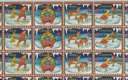 Full Sheet 100 Seal, Seals -Vignette  ERINNOPHILIE - MNH 1965, Noel Et Jeux D´hiver, Tuberculosis, Tuberculose- 4 Scans - Erinnophilie