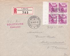 Bloc De 4 Du No 203 Sur Lettre Oblitérée Par Le Cachet Du Bureau De Poste Automobile Le 16.IV.37 - Linéaire Solothurn - Lettres & Documents