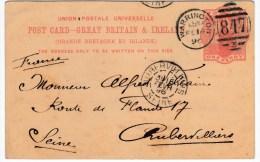 84043 - Carte Postale  1 P Rouge OMEC WARRINGTON Fe 1890 Pour La France TB - Entiers Postaux