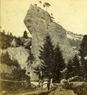 Suisse Passage Du Rocher Au Rigi Kaltbad Montagne Ancienne Photo Charnaux  1870 - Stereoscopic