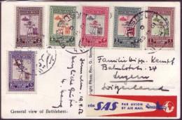 "Jordanian Jordan 1952 Jerusalem Airmail Postcard Via ""SAS"" - Scandinavian Airlines - Jordan"