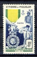 S. Pierre Et Miquelon 1952 N. 347 Fr. 8 Medaglie Militari MNH Catalogo € 16 - Nuovi