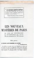 Catalogue NOUVEAUX MYSTERES DE PARIS  De Léo Malet (Laffont , 1958) (PPP2699) - Pubblicitari