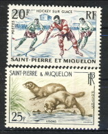 S. Pierre Et Miquelon 1959 Serie N. 360-361 Hockey E Visoni MNH Catalogo € 9,50 - St.Pierre & Miquelon