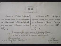 PARIS XIVe Et 92 FONTENAY-aux-ROSES - Faire-Part De Mariage Entre Marcel DUPUY Et Marie RIGAULT - 23 Février 1914 - Mariage
