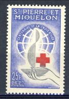 S. Pierre Et Miquelon 1963 N. 369 Fr. 25 Croce Rossa MNH Catalogo € 14 - St.Pierre & Miquelon