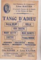 (gb8)tango D'adieu , BERTHE DELNY , ROLLA , MARY KETTY , Paroles : GEO KOGER , Musique : LEON RAITER - Partitions Musicales Anciennes