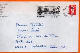 49 VERNOIL  SA FORET     30 / 8 / 1991 Lettre Entière 110x220  N° W 505 - Marcophilie (Lettres)