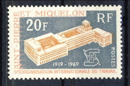 S. Pierre Et Miquelon 1969 N. 398 Fr. 20 OIT, MNH Catalogo € 12,50 - St.Pierre & Miquelon