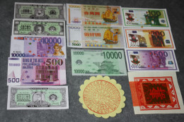 Lot De 13 Billets Divers De La Banque De L´enfer (Chinese Hell Bank Note) Chine - Banque Du Paradis - Banque Des Morts - China