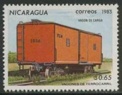 Nicaragua 1983 Mi 2388 ** Goods Wagon No 1034 – Railway Wagons / Geschlossener Güterwagen - Eisenbahnwagen - Treinen