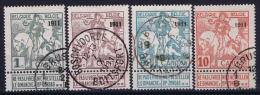 Belgium:  1911 OBP 92 + 94 + 96 + 98 Used    Obl Mi 81 II - 84 II - 1910-1911 Caritas
