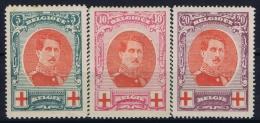 Belgium:  OBP 132 - 134  MH/* Falz/ Charniere Mi 110 - 112 1912 - 1914-1915 Rode Kruis