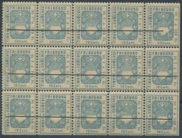 1228 - FRIBOURG Fiskalmarke Im 15er Bogenteil