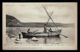 CPA PRECURSEUR- MOYEN-ORIENT- ISRAEL- BARQUE DE PECHE SUR LE LAC DE TIBÉRIADE EN 1900- TRES GROS PLAN ANIMÉ - Israel