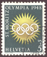 Schweiz Zuschlagsmarken 1948 Olympia St Moritz Zu.# W25x Gelbe Fasern Gestempelt - Suisse