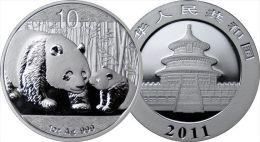 2011 - 10 Yuan En Argent - Panda Cina Chine Silver Plata Eagle Silber Once Onza Oncia Unze 1 Oz 999 - Cina