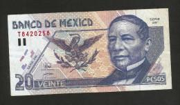 MEXICO - El BANCO De MEXICO - 20 PESOS (1998) - JUAREZ / Serie AW - Messico