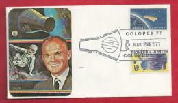 Lettre Des EUAN De 1977 - FDC - YT N° 725 Et 1044 - Colopex 77 - 15ème Anniversaire Projet Mercury - Jupiter - Covers & Documents