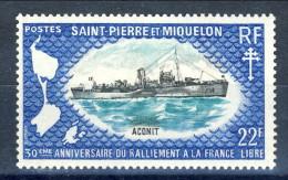 S. Pierre Et Miquelon 1971 N. 414 Fr. 22 Vascelli Da Guerra L'Aconit MNH GO Catalogo € 35,50 - St.Pierre & Miquelon