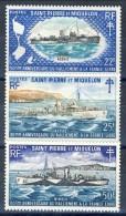 S. Pierre Et Miquelon 1971 Serie N. 414-416 Vascelli Da Guerra MNH GO Catalogo € 133 - St.Pierre & Miquelon