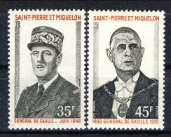S. Pierre Et Miquelon 1971 Serie N. 419-420 De Gaulle MNH Catalogo € 66 - St.Pierre & Miquelon