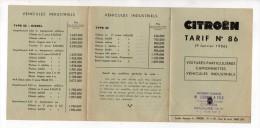 Publicité - Citroën - Tarif N°86 - 1956 - Modern Garage, M. Legrand & Fils, Brioude - Publicités