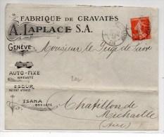 1910 - ENVELOPPE ILLUSTREE De GENEVE Expédiée De BELLEGARDE (AIN) - FABRIQUE DE CRAVATES - Marcophilie (Lettres)