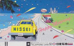 Télécarte Ancienne Japon / 110-5424 - Peinture Dessin Pub Essence ESSO - Japan Front Bar Phonecard / A - Balken TK - Petrole