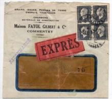 1945 - ENVELOPPE EXPRES De COMMENTRY (ALLIER) Avec BLOC DE 4 DULAC - Marcophilie (Lettres)