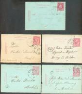 Lot De 5 E.P. Carte-lettre 10 Centimes Emission 1869 Et 1884 Obl. Par La Cachet Sc De BORNHEM + Boîte W Ou TV Vers Meche - Postbladen