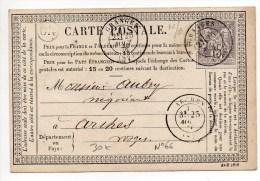 1876 - CARTE PRECURSEUR Avec SAGE N°66 écrite à REHAUPAL (ORIGINE RURALE) & TàD De GRANGES (VOSGES) - Marcophilie (Lettres)