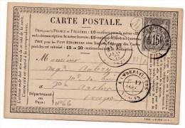 1877 - CARTE PRECURSEUR LOCALE De RAMBERVILLERS (VOSGES) Avec SAGE N° 66 & BOITE RURALE M (NON IDENTIFIEE) - Marcophilie (Lettres)