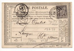 1877 - CARTE PRECURSEUR N°28 Avec RUPTURE DU CADRE EN BAS A DROITE De NEUFCHATEAU (VOSGES) - Marcophilie (Lettres)