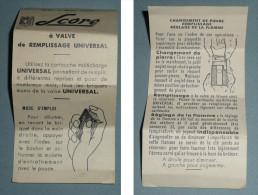 Rare Ancienne Notice D'utilisation Briquet SCORE à Valve De Remplissage Universal - Documents
