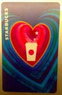 Starbucks CHINA 2015 REWARDS VIP Card Valentine Blue Red Heart - Cina