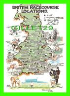 CARTES GÉOGRAPHIQUES - MAPS - BRITISH RACECOURSE LOCATIONS - FRED CAMP, 1992 - ABBA POSTCARD - - Cartes Géographiques