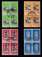 Schweiz Pro Patria 1940 4er Bl. Satz Zu#3-6 Gestempelt - Pro Patria