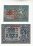 1912 OeSTERREICH KRONE 100+1902 KRONE 1000-Gute Zustand-e617 - Austria