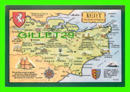 CARTES GÉOGRAPHIQUES - MAPS - KENT, UK - THE GARDEN OF ENGLAND - A SALMON WATERCOLOUR POST CARD - - Cartes Géographiques