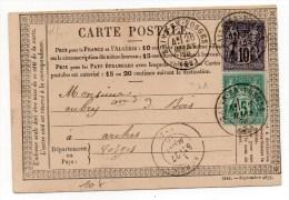 1878 - CARTE PRECURSEUR De BAINS EN VOSGES Avec SAGE - Marcophilie (Lettres)