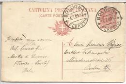 ITALIA BOLOGNA 1909 ENTRO POSTAL A BERLIN - Interi Postali