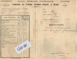 VP3753 - Académie De Paris - Bulletin Scolaire - Collège Jacques - AMYOT à MELUN - Elève CHANDIOUX - Diplômes & Bulletins Scolaires