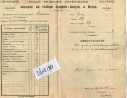 VP3754 - Académie De Paris - Bulletin Scolaire - Collège Jacques - AMYOT à MELUN - Elève CHANDIOUX - Diplômes & Bulletins Scolaires