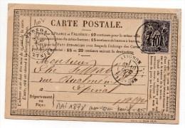 1878 - CARTE PRECURSEUR De AVIGNON (VAUCLUSE) Avec SAGE - Marcophilie (Lettres)