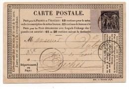 1878 - CARTE PRECURSEUR D'EPINAL (VOSGES) Avec BORD DE FEUILLE SAGE - Marcophilie (Lettres)