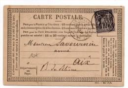 1878 - CARTE PRECURSEUR De MARSEILLE Pour AIX - Marcophilie (Lettres)