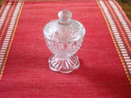 PORTIEUX , Moutardier Ancien En Verre Pressé Moulé , XIXe - Glass & Crystal